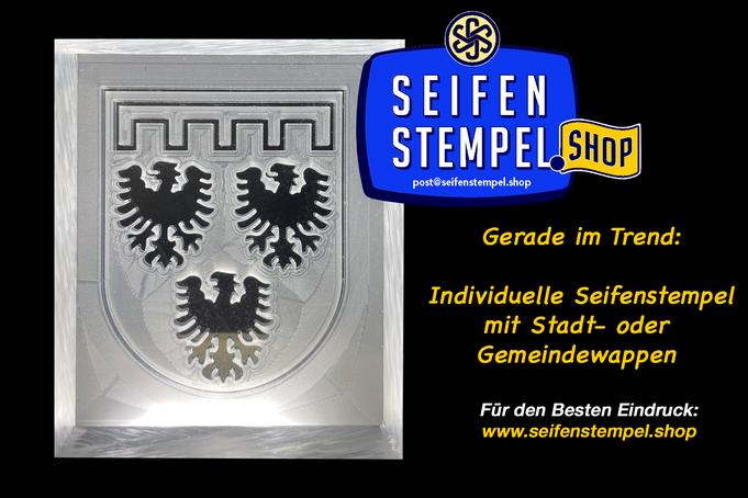 Seifenstempel mit Wunschmotiv, Seifenstempel mit eigenem Logo, personalisierter Seifenstempel