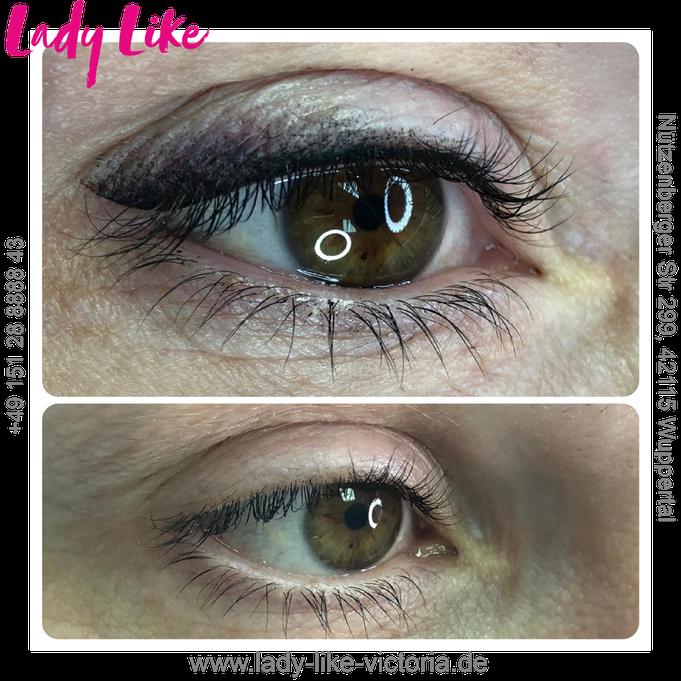 Authentisches Foto, Kundin von LadyLikeVictoria, Permanent Make-up der Augenlider, Lidstrich mit Anschattierung, bitte klicke um mehr zu erfahren