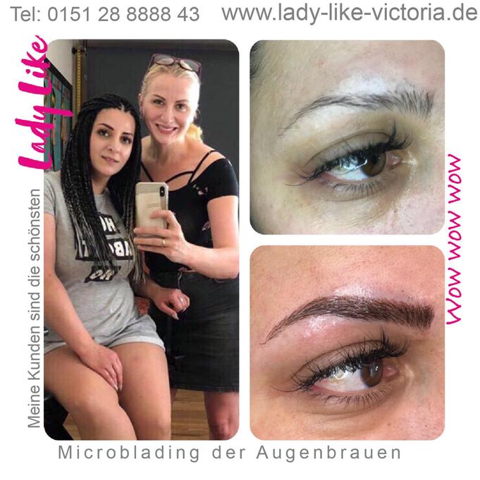 Authentisches Foto, Kundin von LadyLikeVictoria, Permanent Make-up der Augenbrauen Microblading, bitte klicke um mehr zu erfahren