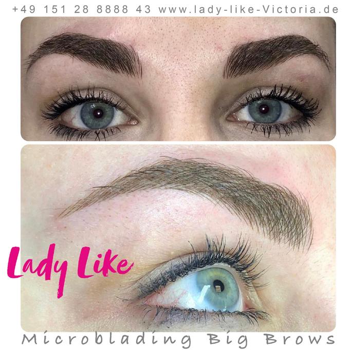 Authentisches Foto, Kundin von LadyLikeVictoria, Permanent Make-up der Augenbrauen Microblading Mischtechnik Big Brow, bitte klicke um mehr zu erfahren