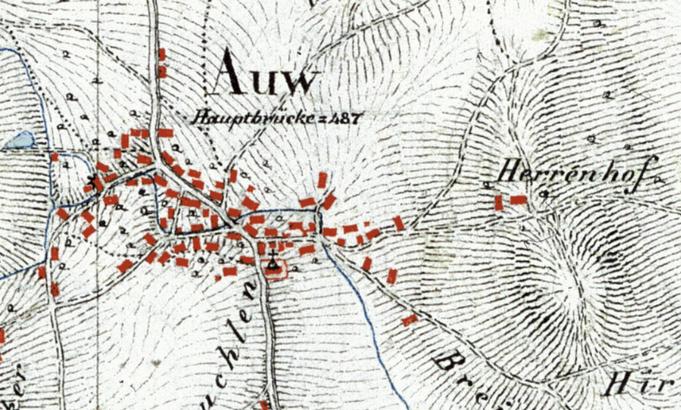 Auw im Jahr 1840 auf der Michaeliskarte