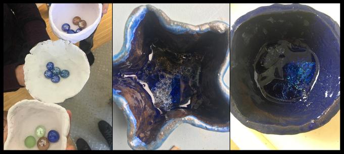 Unsere fertig glasierten Schalen☺️mit geschmolzenen Glasperlen