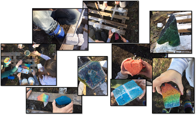 Wir waren im Schulgarten und haben Ytong-Steine bearbeitet