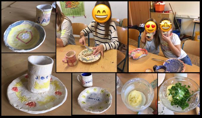 Einweihen der selbst getöpfeten Teller und Tassen