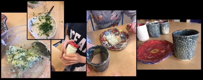 Geschirr aus Ton mit Grundschülern