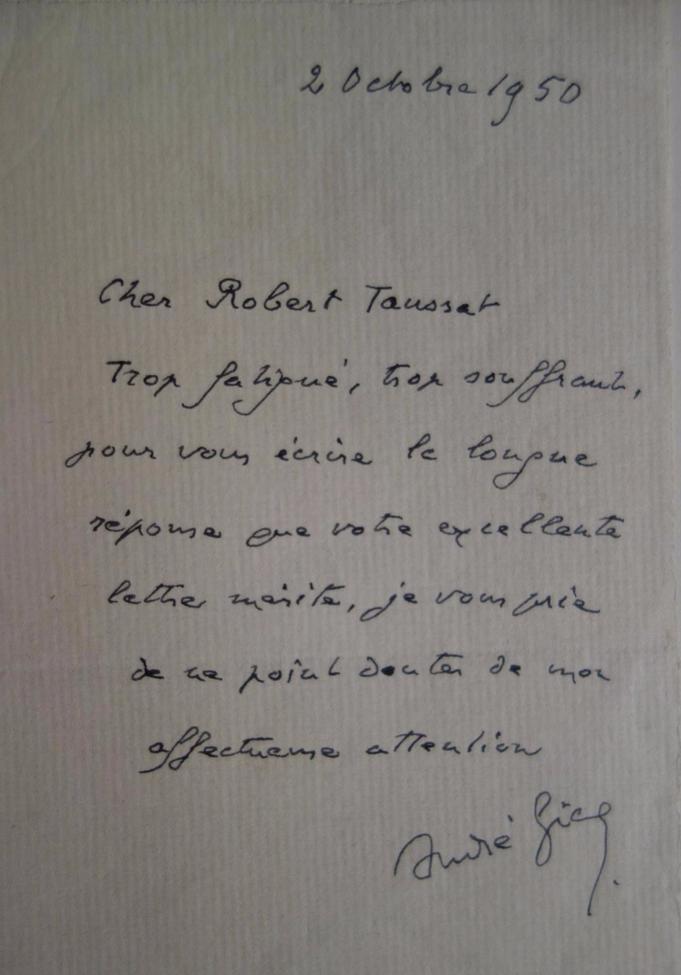 André Gide, lettre autographe signée