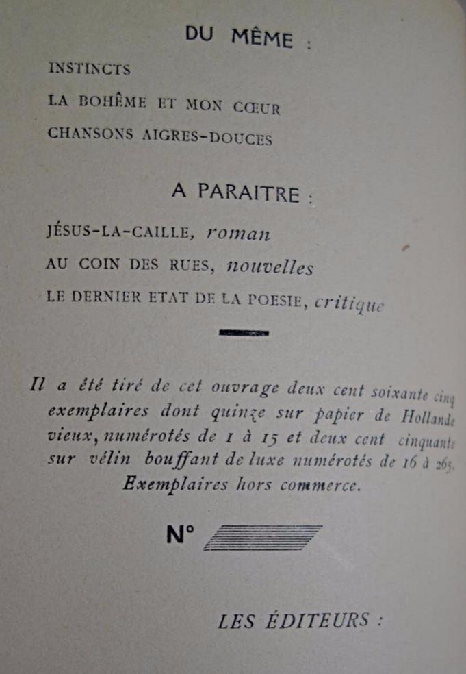 Francis Carco, Au Vent crispé du matin, livre rare, livre ancien