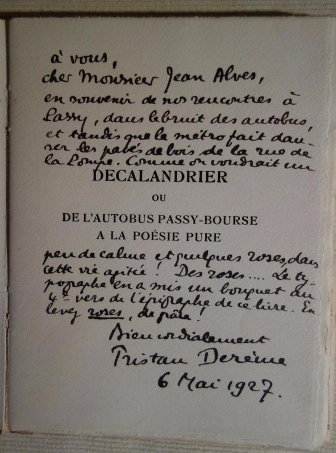 Tristan DEREME, Decalandrier ou de l'autobus Passy-Bourse à la poésie pure,  A la Cité des livres, 1927, édition originale, livre rare