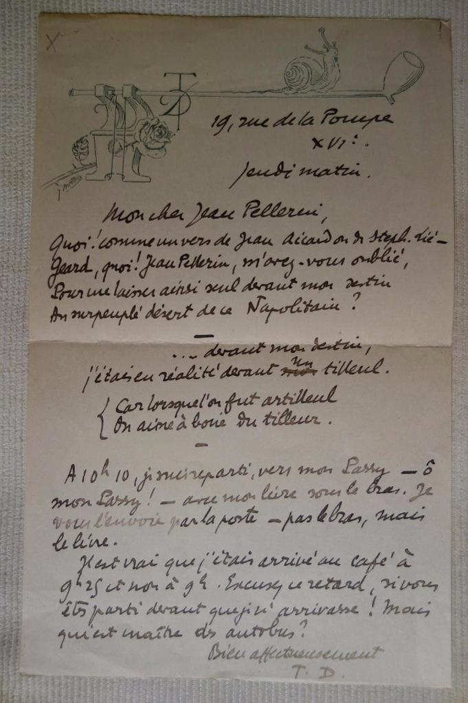 Tristan Derème, lettre autographe signée à Jean Pellerin