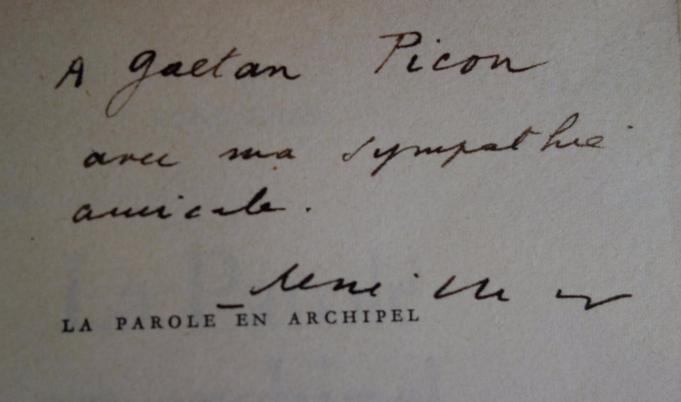 René Char, La Parole en archipel, 1962, édition originale, livre rare, envoi autographe signé