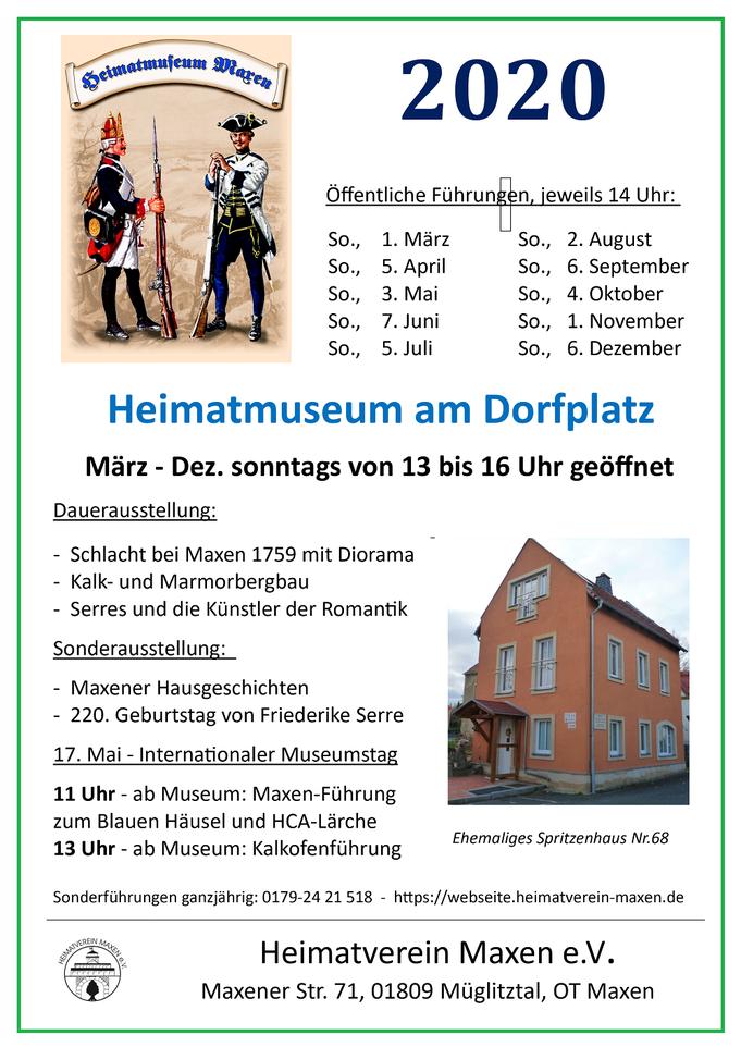 Heimatmuseum Maxen, Termine & Plakat 2020