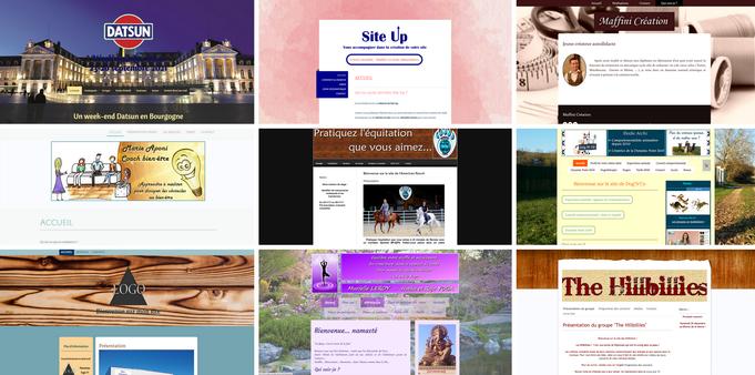 Mosaïque de sites réalisés par Elodie Archi de Site Up / Création de sites Internet autonomes / Dijon, Langres, Is sur Tille