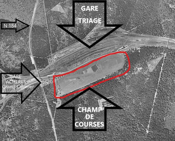Le champ de courses d'Achères en bordure de la gare de triage en 1949