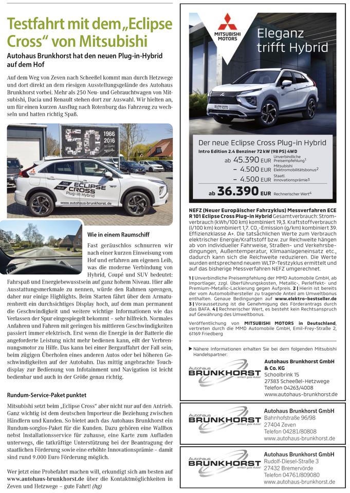 Autohaus Brunkhorst Mitsubishi Plug in Hybrid Probefahrt Test