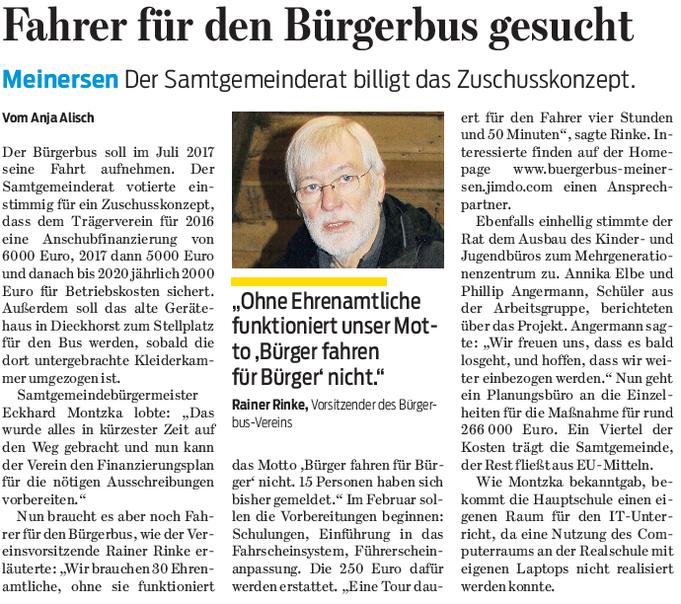 Gifhorner Rundschau vom 24.9.2016