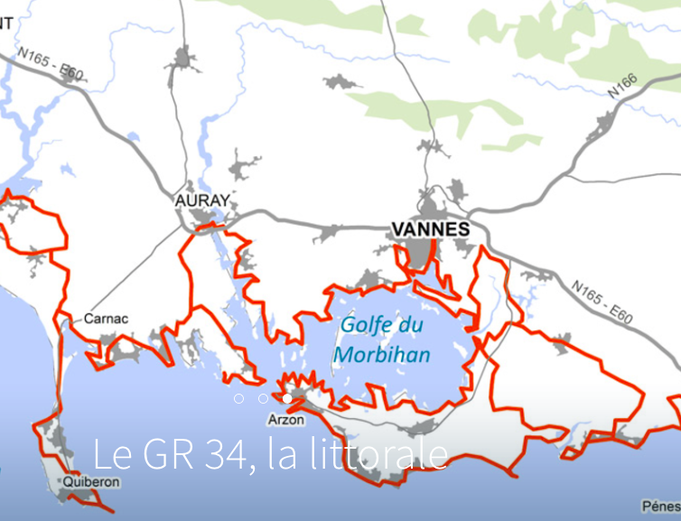Le GR34, la carte du Morbihan   Gîte de bord de mer au coeur du