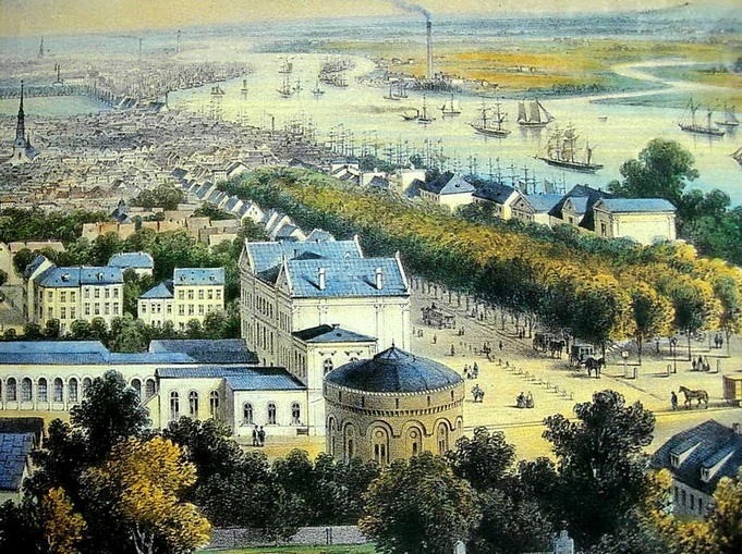 The first main train station in Altona an the river Elbe 1866