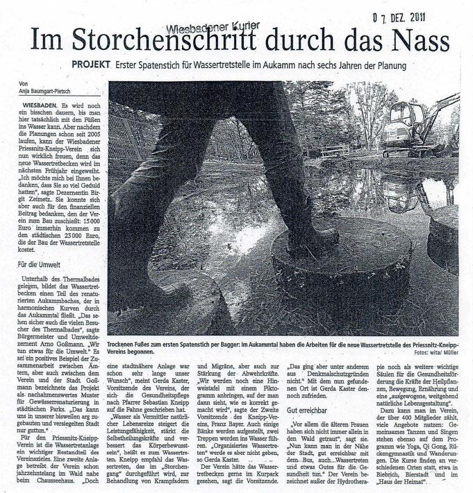 Bericht über den ersten Spatenstich, Wiesbadener Kurier vom 07.12.2011
