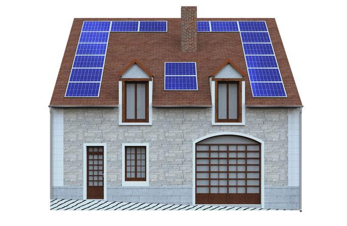 avant-projet de réhabilitation d'une maison de village, avec des panneaux solaires
