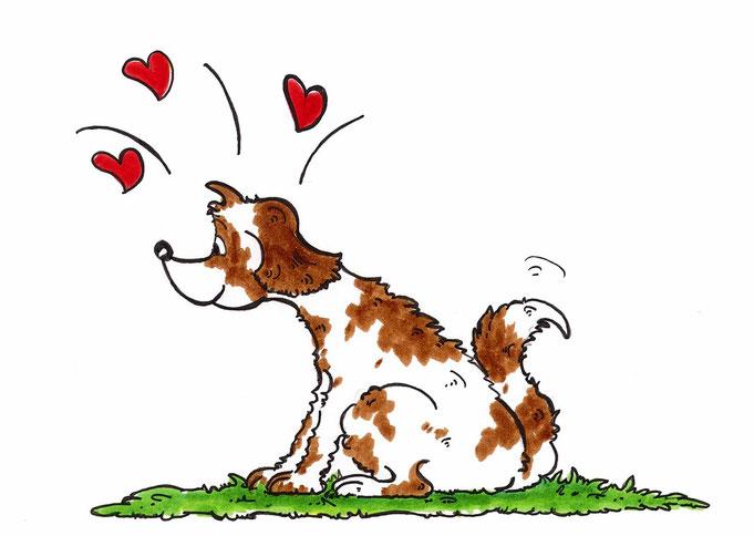 Hundecartoon mit Herz