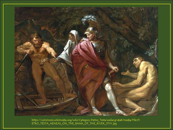 Charon, Sibylle und Aeneas am Ufer des Flusses Styx, Gemälde von Pietro Testa 1648-1649