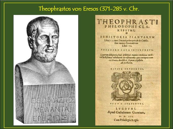 """Bild-Quelle: commons.wikimedia.org/wiki/File: Theophrastus.jpg Büste und Titelbild seines Hauptwerkes """"DE HISTORIA PLANTARUM"""""""