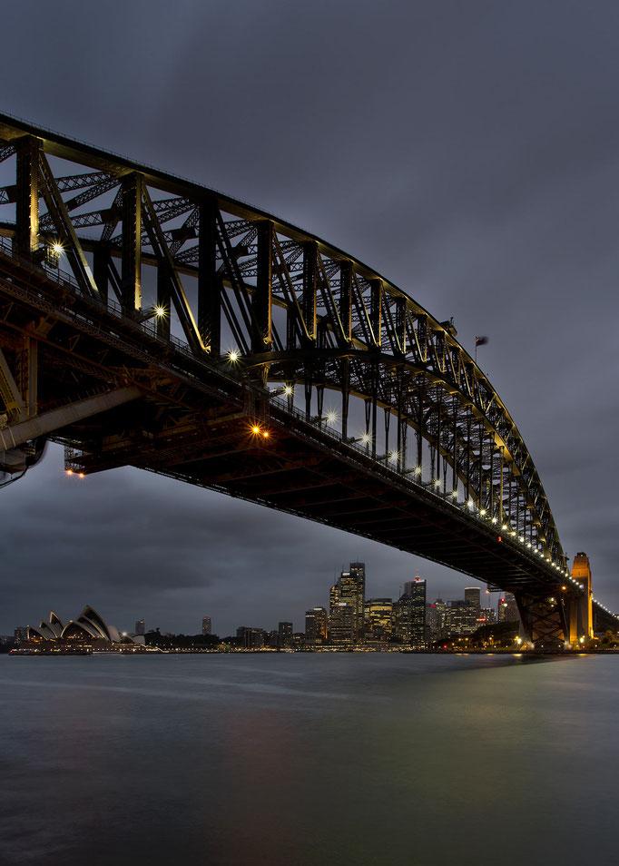 Sydney Skyline at night, Long Exposure with illuminated Harbour Bridge and Opera House, Australia, 1280x1791px