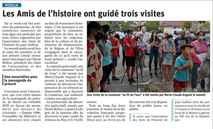 Dauphiné Libéré, Romanche Oisans,Vizille, édition du 23 septembre  2020