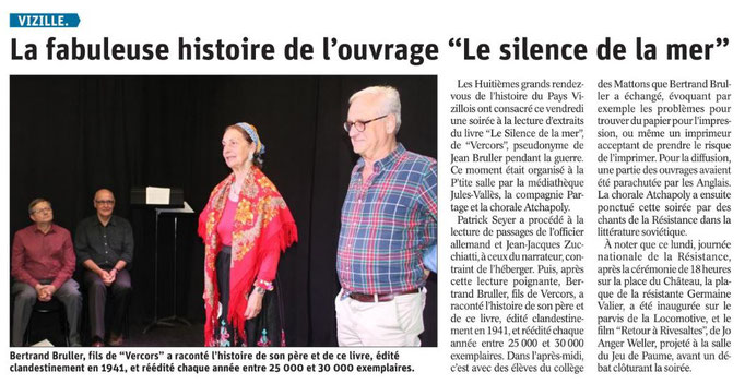 Dauphiné Libéré, Romanche & Oisans, Vizille, édition du 28 mai 2019.