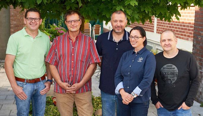 Der aktuelle Vorstand vom Unternehmernetzwerk fair-dienen, Lutz Kotthaus, Thomas Lange, Georg Pothmann, Tanja Domeyer, Thomas Mager