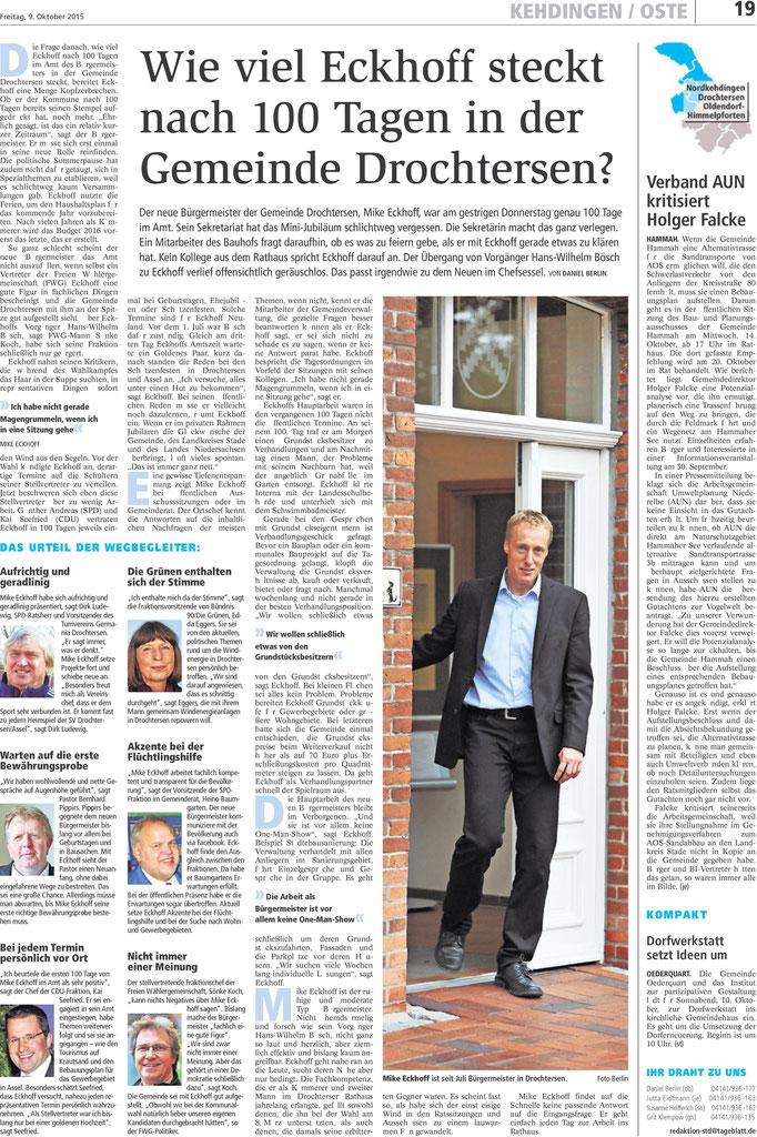 Stader Tageblatt vom 09. Oktober 2015
