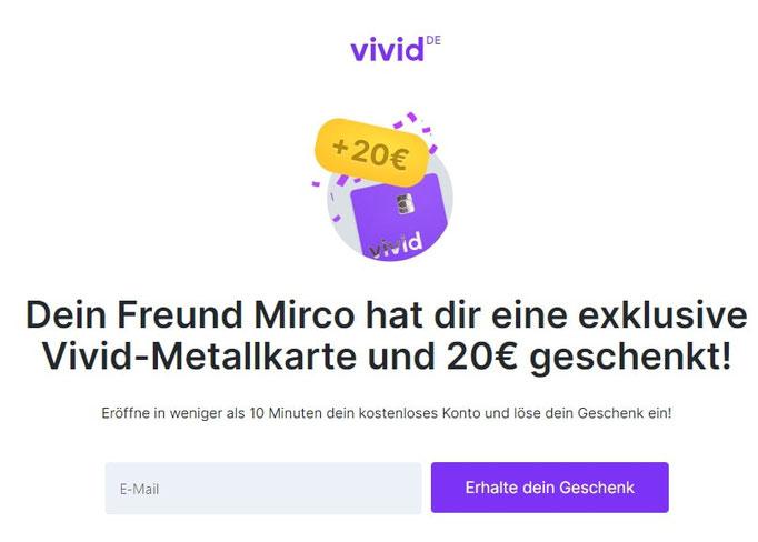 Vivid Money 20€ Bonus für Neukunden