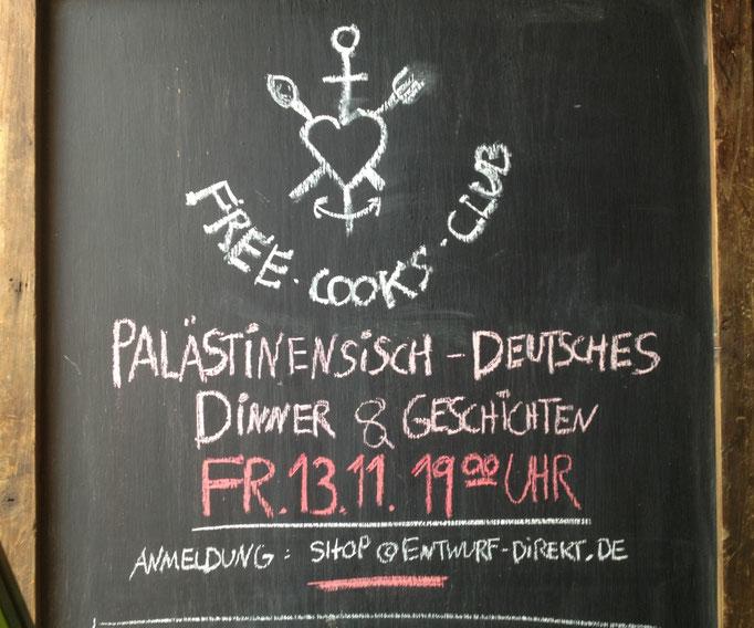 Roana aus Deutschland und Asma aus Palästina werden an diesem Abend gemeinsam ein Essen kochen Kostenbeitrag wird je nach Geldbeutel 10-20 € sein.
