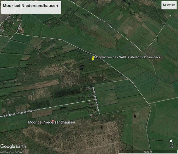 Lageplan der NABU-Flächen im Moor bei Niedersandhausen.