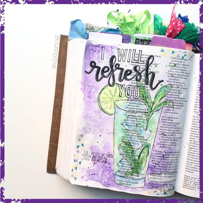 Biblejournaling voorbeeld Jeremia 31:25