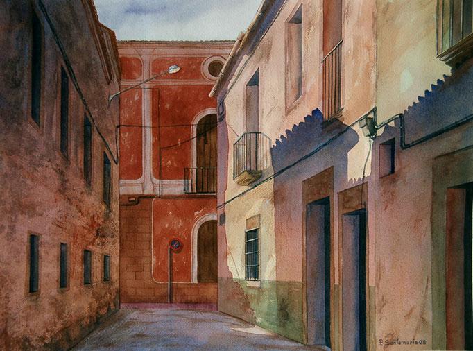 La casa roja de Trujillo 2008, acuarela 38.5X51 cm