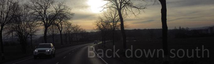 Back down south, zurück in den Süden, Landstraße, Kurve