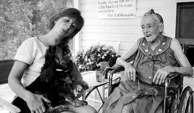 Mary Lloyd Dugan and her dog visiting Margaret when she was retired at the Meher Center in Myrtle Beach, S.C.