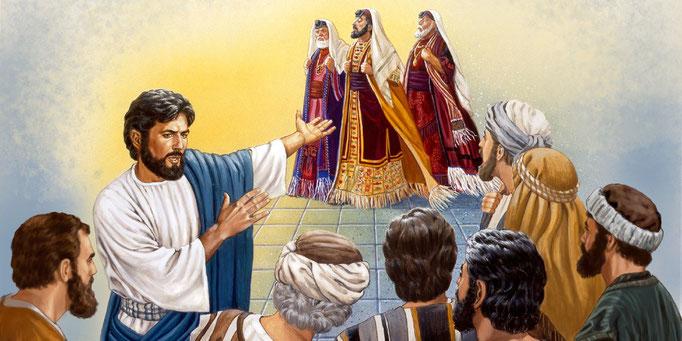 Les Pharisiens lient des fardeaux pesant sur les épaules des hommes ; ils recherchent les premières places et s'élèvent au-dessus des autres ; ils dépouillent les veuves de leurs biens et font de longues prières pour l'apparence.