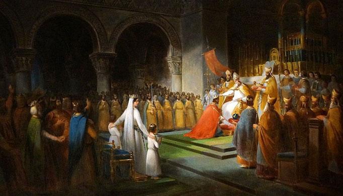 Pépin le Bref, fils de Charles Martel et père de Charlemagne, obtient l'assentiment du pape Zacharie pour mettre fin au règne des Mérovingiens et prendre la place de Childéric III. En 751, Pépin le Bref, premier représentant de la dynastie carolingienne.