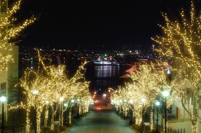 八幡坂から望む函館港とイルミネーション