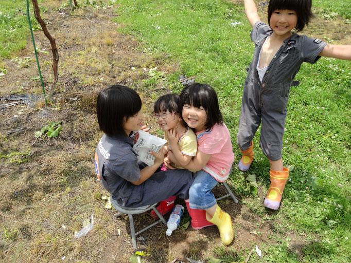 孫葡萄畑で遊ぶ