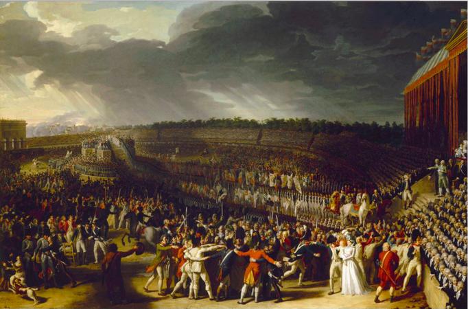 La Fête de la Fédération, peinte par Charles Thévenin (1796) gallica.bnf.fr