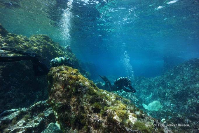 Blue Hole. Zerklüftete Unterwasserlandschaft, von Vulkanen geformt. © Robert Hansen, Gozo 2015