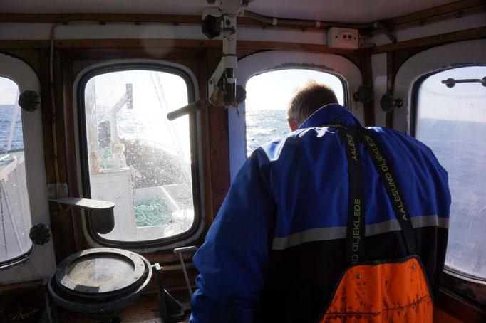 Nils-Peter am Steuer der Breisund. © Robert Hansen, Hamnøya, April 2014