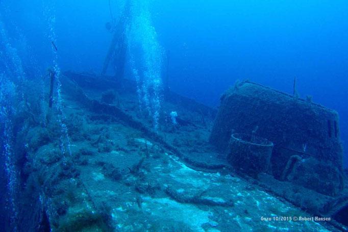 Das Wrack der MS Karwela. Die Fähre wurde zum Schutz des Riffes 2006 absichtlich versenkt © Robert Hansen, Gozo Oktober 2015
