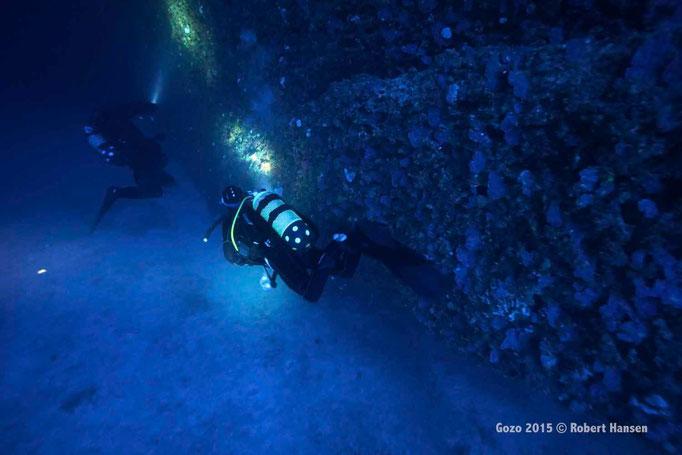 Grotte. Nur noch wenig Tageslicht dringt in die Tiefen der Coral Cave. Was hier alles an den Wänden wächst? © Robert Hansen, Gozo 2015