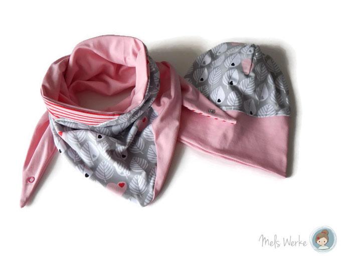 XXL Tuch mit passender Wendebeanie Blätter rosa