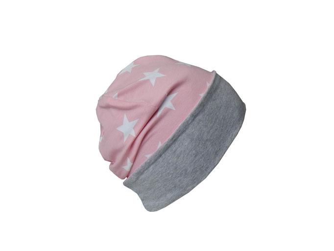 Wendebeanie Sterne rosa-weiß mit Umschlag