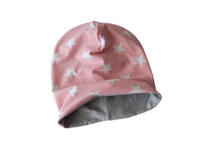Wendebeanie Sterne rosa-weiß
